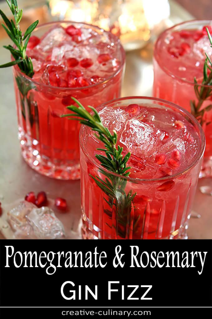 Pomegranate and Rosemary Gin Fizz Cocktail