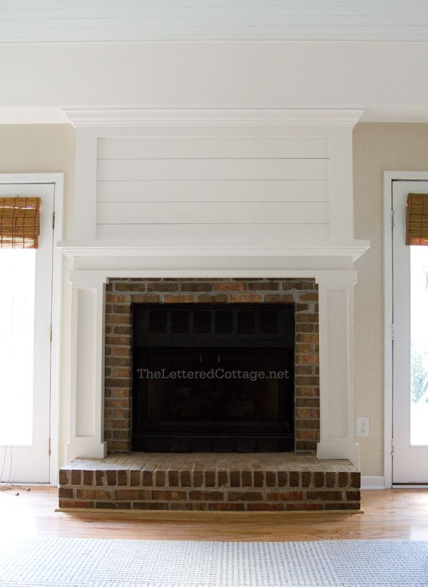 planked fireplace makeover after