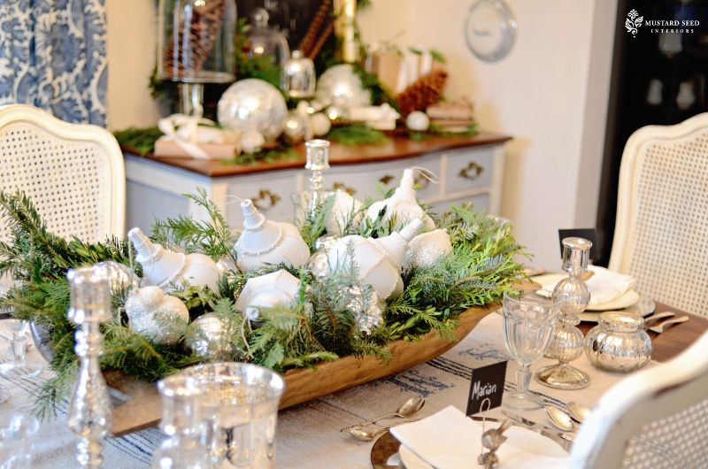 Ideas For Filling Decorative Bowls Dough Bowl Filled With Greenery And Ornamentsperfect Christmas