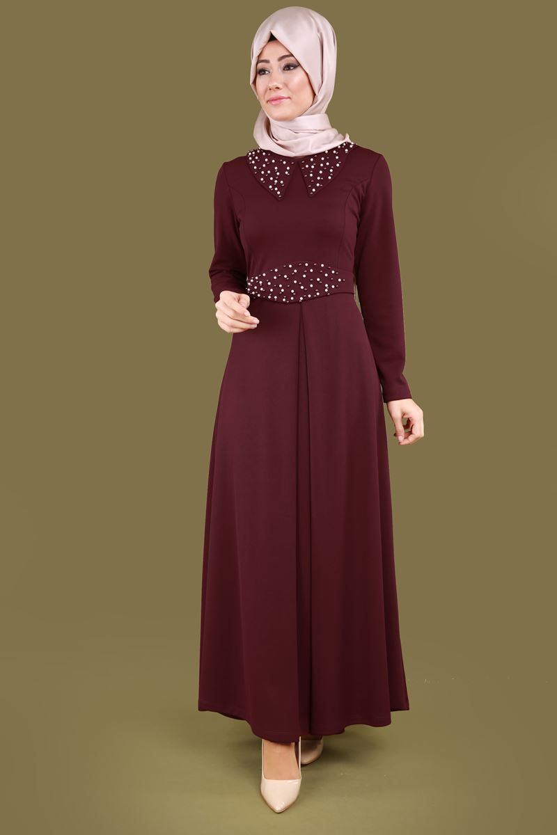 284660662ea53 Yaka ve Kemeri İncili Elbise PRM3011 Bordo | Dresses in 2019 ...