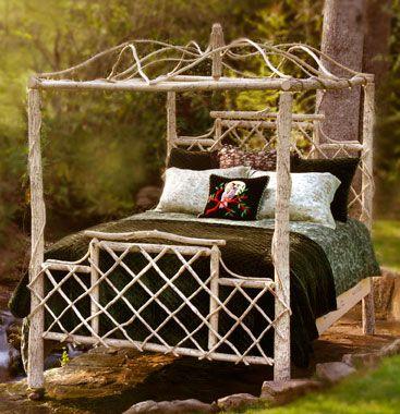 Merveilleux Rustic Twig Furniture, Treillage Canopy Bed