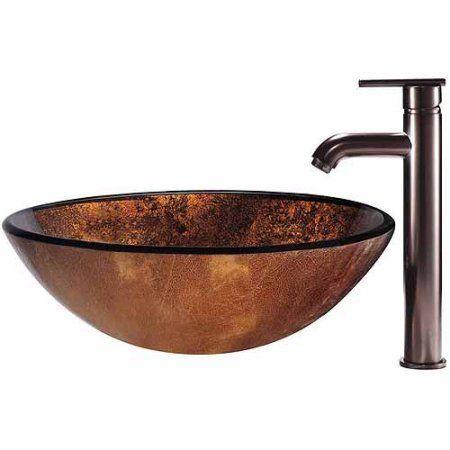 Vigo Russet Glass Vessel Sink and Faucet Set, Oil Rubbed Bronze, Brown