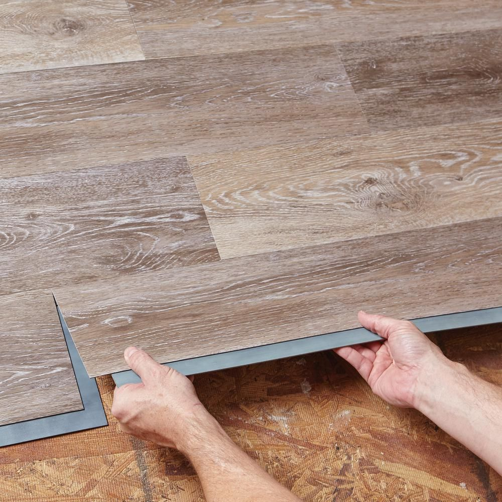 Trafficmaster Allure 6 In X 36 In Brushed Oak Taupe Resilient