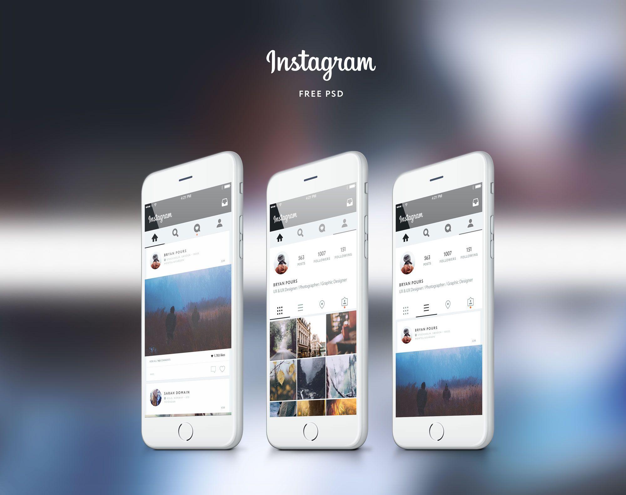 Download instagram Free Ui Concept PSD UI - http://www.vectorarea ...