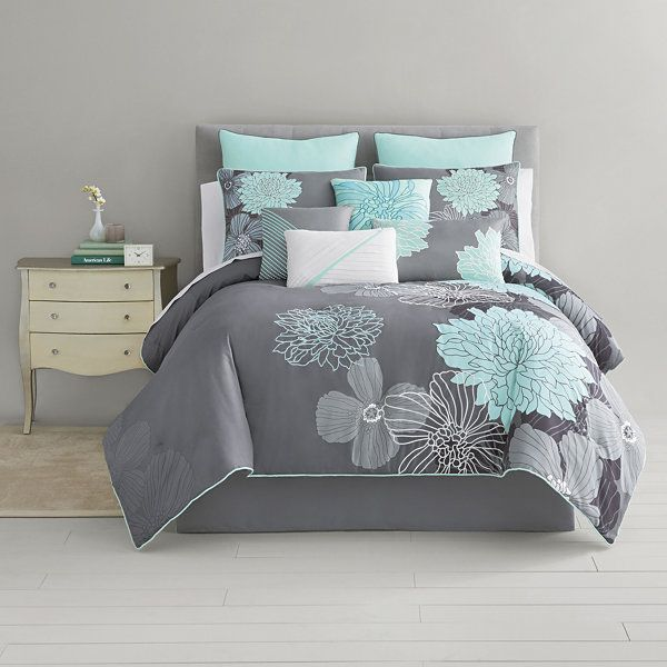 Home Expressions Alice Modern Floral 10 Pc Comforter Set Accessories Jcpenney Comforter Sets Turquoise Room Bedroom Turquoise
