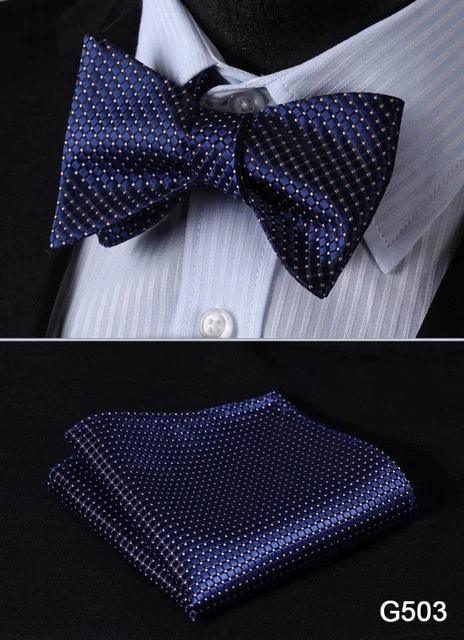 Men Floral Jacquard Self Bow Tie Handkerchief Square SET One Size Pure Aqua Blue