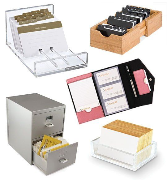Beyond The Rolodex 5 Alternatives For Organizing Business Cards Business Card Organizer Rolodex Office Organization At Work
