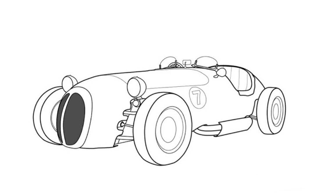 Jaguar Old Racing Car Coloring