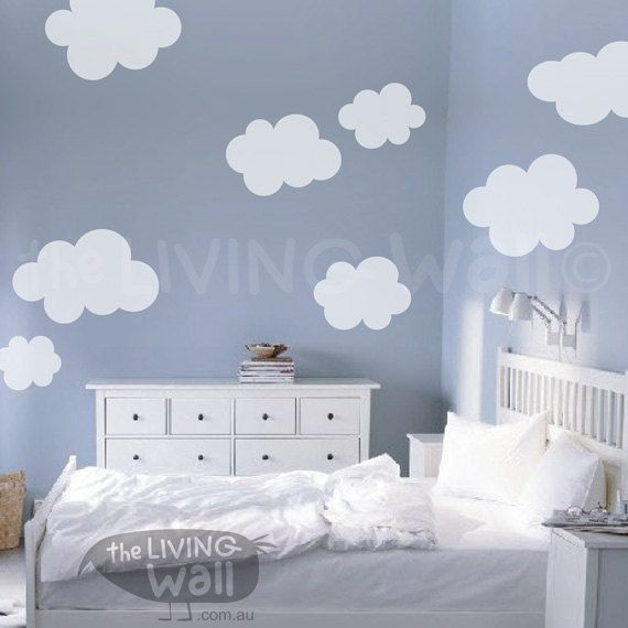 fluffy cloud wall decals, cloud decal, white cloud wall stickers