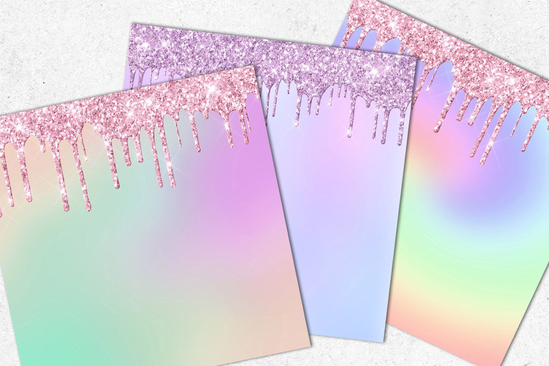Rainbow Ombre Dripping Glitter | Glitter digital paper ...