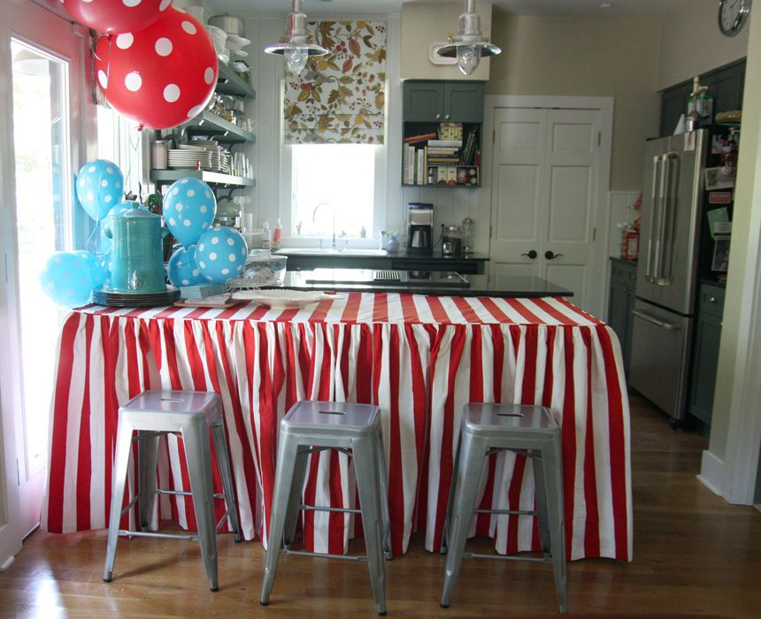 Love The Idea Of Making A Custom Skirted Tablecloth For The Kitchen For  Entertaining.
