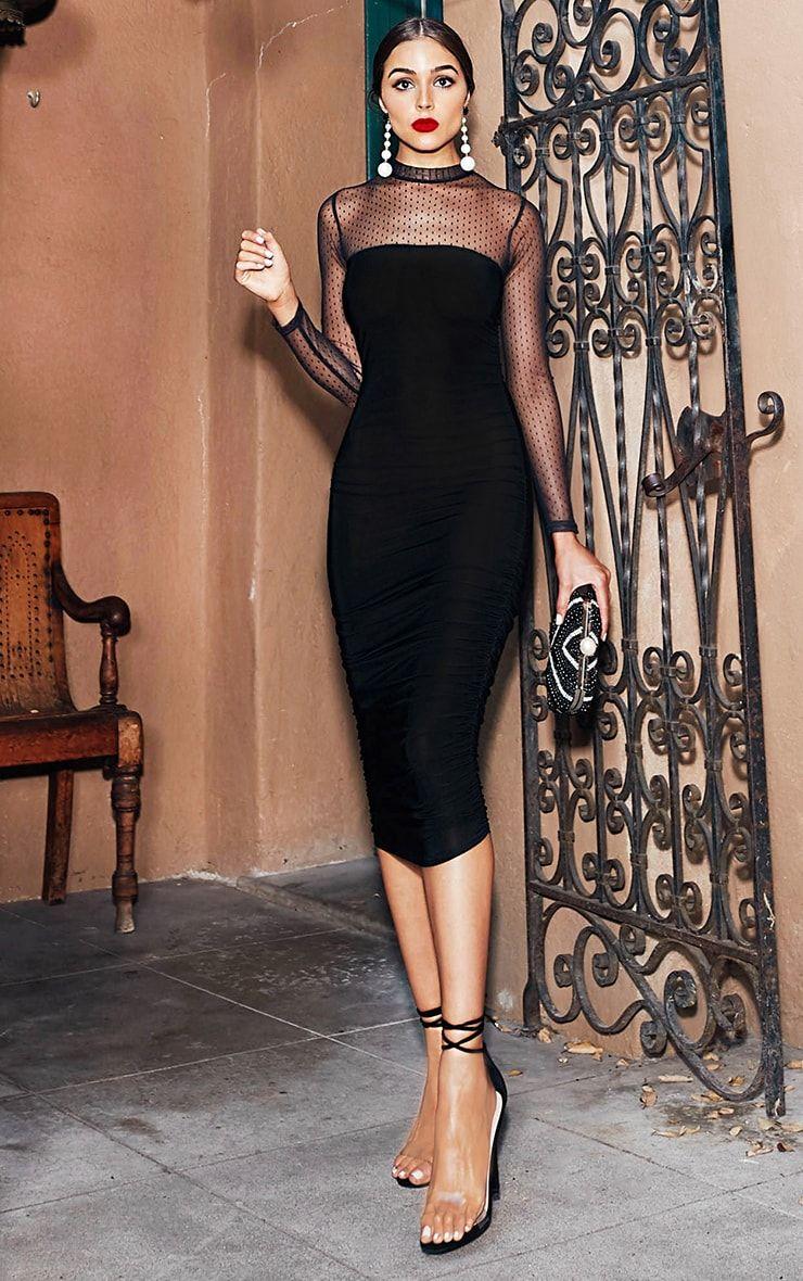 d63efe07d2 Black Dobby Mesh Midi Dress