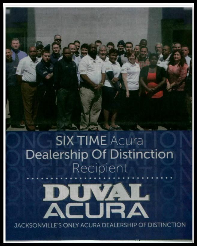 Duval Acura Is A Six Time Dealership Of Distinction Recipient We - Duval acura used cars
