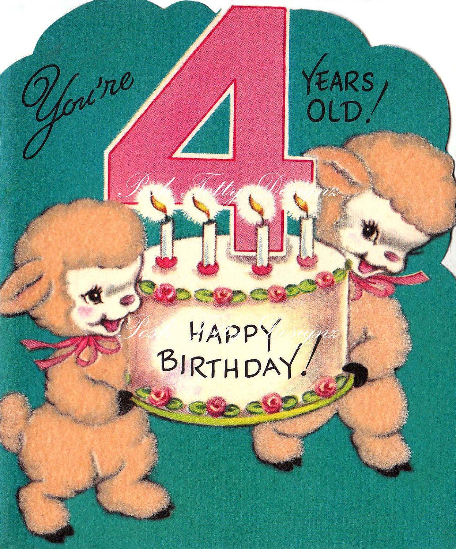 Little Lambs Happy 4th Birthday 1950s Vintage Digital ...