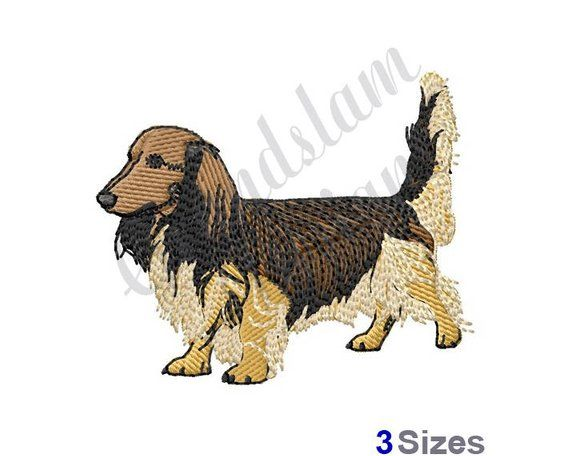 Long Haired Dachshund Machine Embroidery Design Long Haired