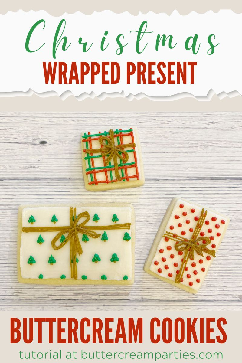 Learn how to decorate these buttercream present sugar cookies for DIY Christmas gifts this year! These gift cookies are the perfect decorated cookie to make for your Christmas cookie exchange! Full tutorial! #diychristmasgifts #diychristmasgiftscheap #christmascookieexchange #christmascookie #christmassugarcookies #decoratedcookies #decoratedsugarcookies #buttercream #buttercreamcookies #christmas #christmasgiftideas #christmasbaking #christmasdesserts #christmasappetizers #christmaspartyfood