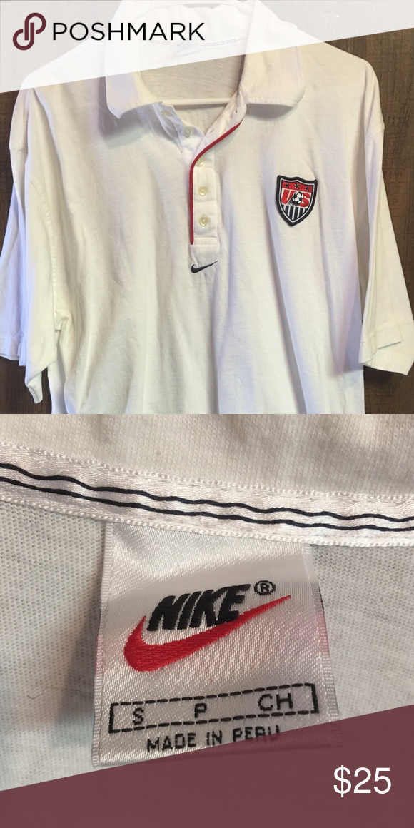 8713ba362c2 Vintage Nike US Men s Soccer Team White Polo Shirt Gently worn Vintage Men s  Small White US