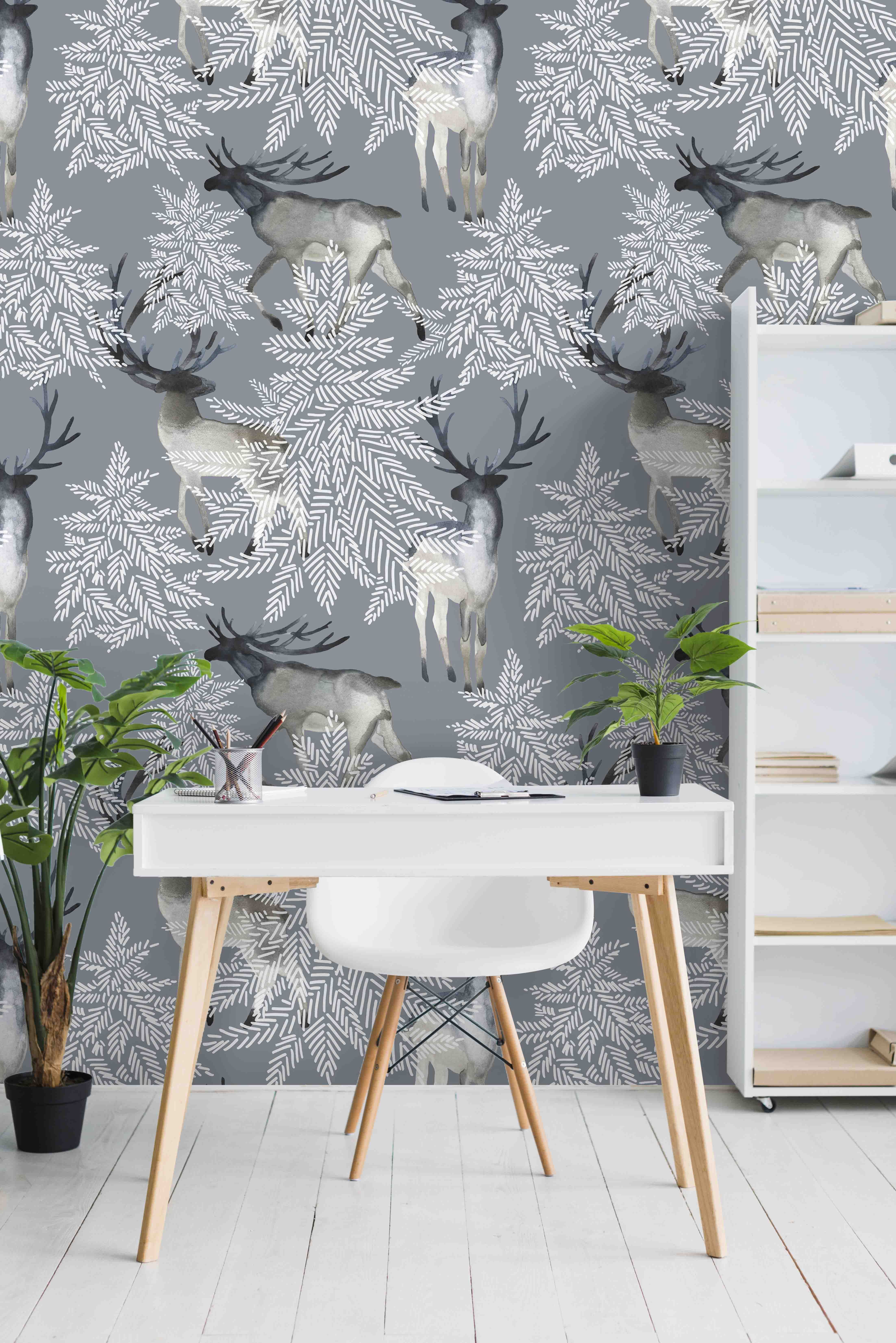 Winter Deer Gray Wallpaper Peel And Stick Wall Covering By Green Planet Christmas Decor Ideas Grey Wallpaper Home Decor Decals Decor