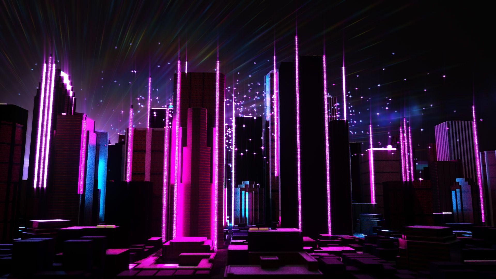 Neon City Purple City Neon Wallpaper Neon