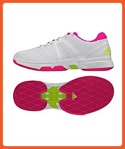 Adidas AF5796 Women's Sonic Allegra Tennis Shoes, White/Shock Pink/Solar  Green,