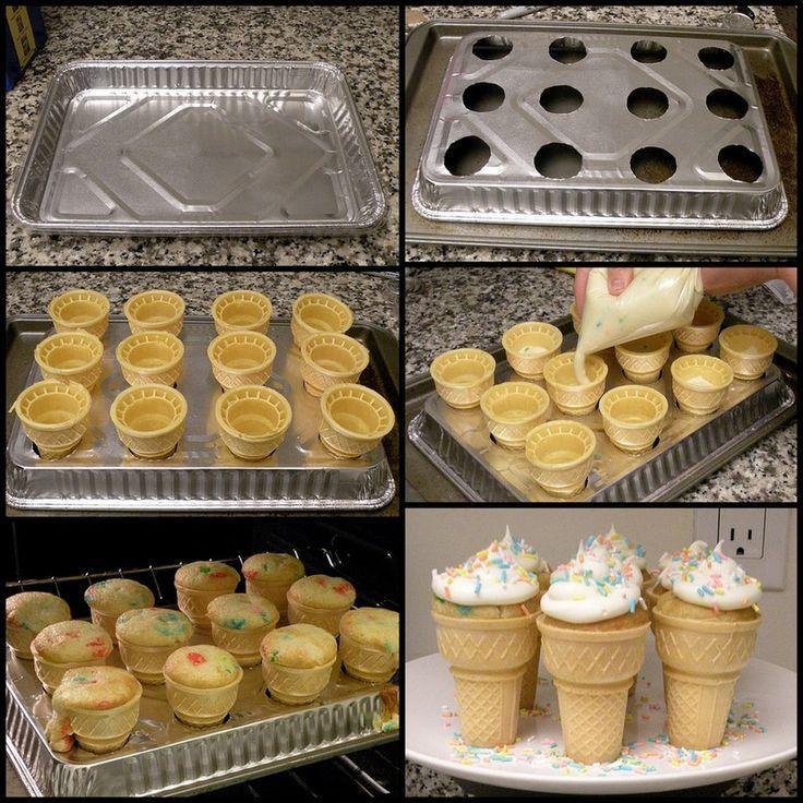 Make A Cupcake Cone Recipe Desserts Dessert Recipes Cupcake