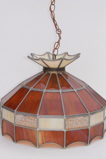 70s Vintage Swag Lamp Pendant Light W Amber Stained Glass Leaded