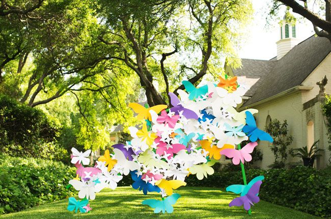 paper butterfly backdrop Wedding Ceremony Decor Pinterest