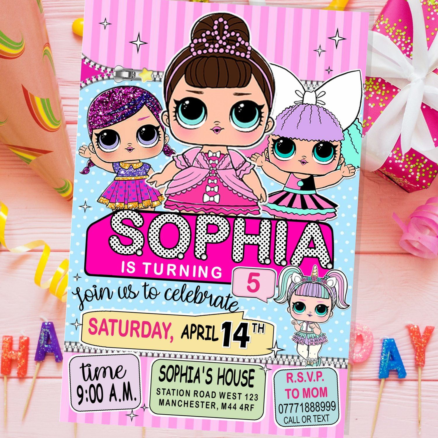 LOL Surprise Dolls Invitation Printable Digital Pe