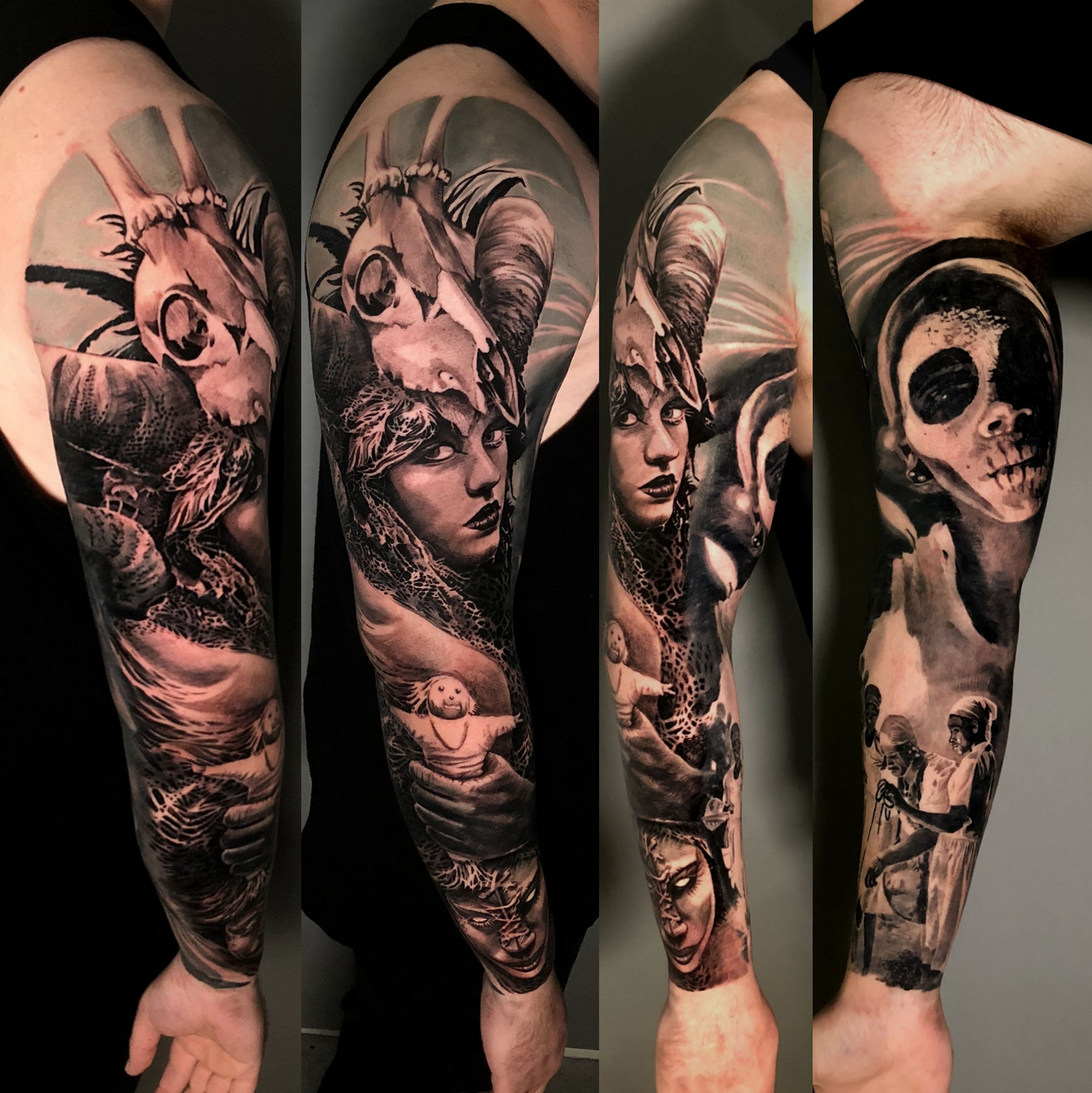 Voodoo Sleeve In Progress Grey Tattoo Tattoos Sleeve Tattoos