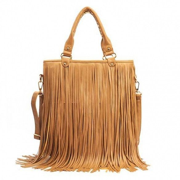 82e0fc4fce09 European Style New Lady Girl Women Synthetic Leather Tassel Bag Fashionable  Shoulder Bag HandBag