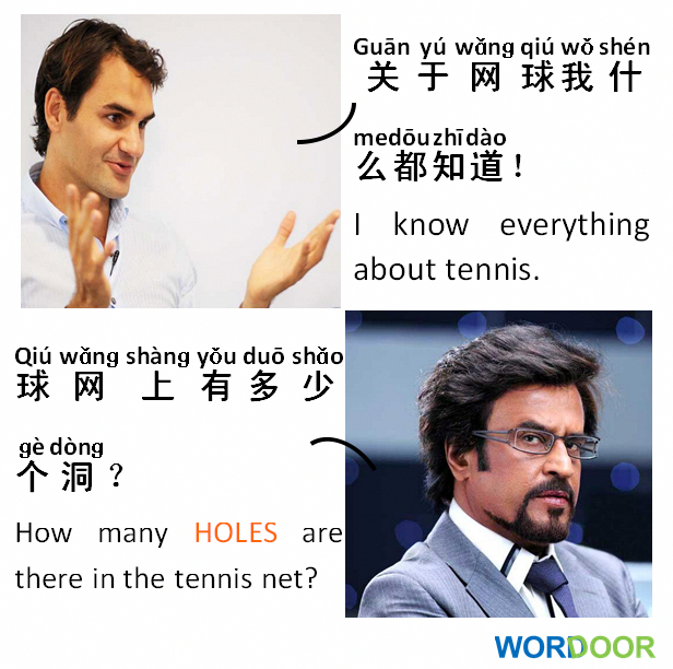 Chinese Jokes Do You Like To Play Tennis网球 Tennis Wang3qiu2 Chinese Jokes Tennis Ro Mandarin Chinese Learning Chinese Words Chinese Language