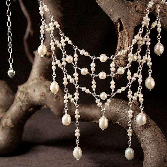 Angel Wings Pearl Necklace  00136  Wire Wrapped Pearl by allotria, $375.00