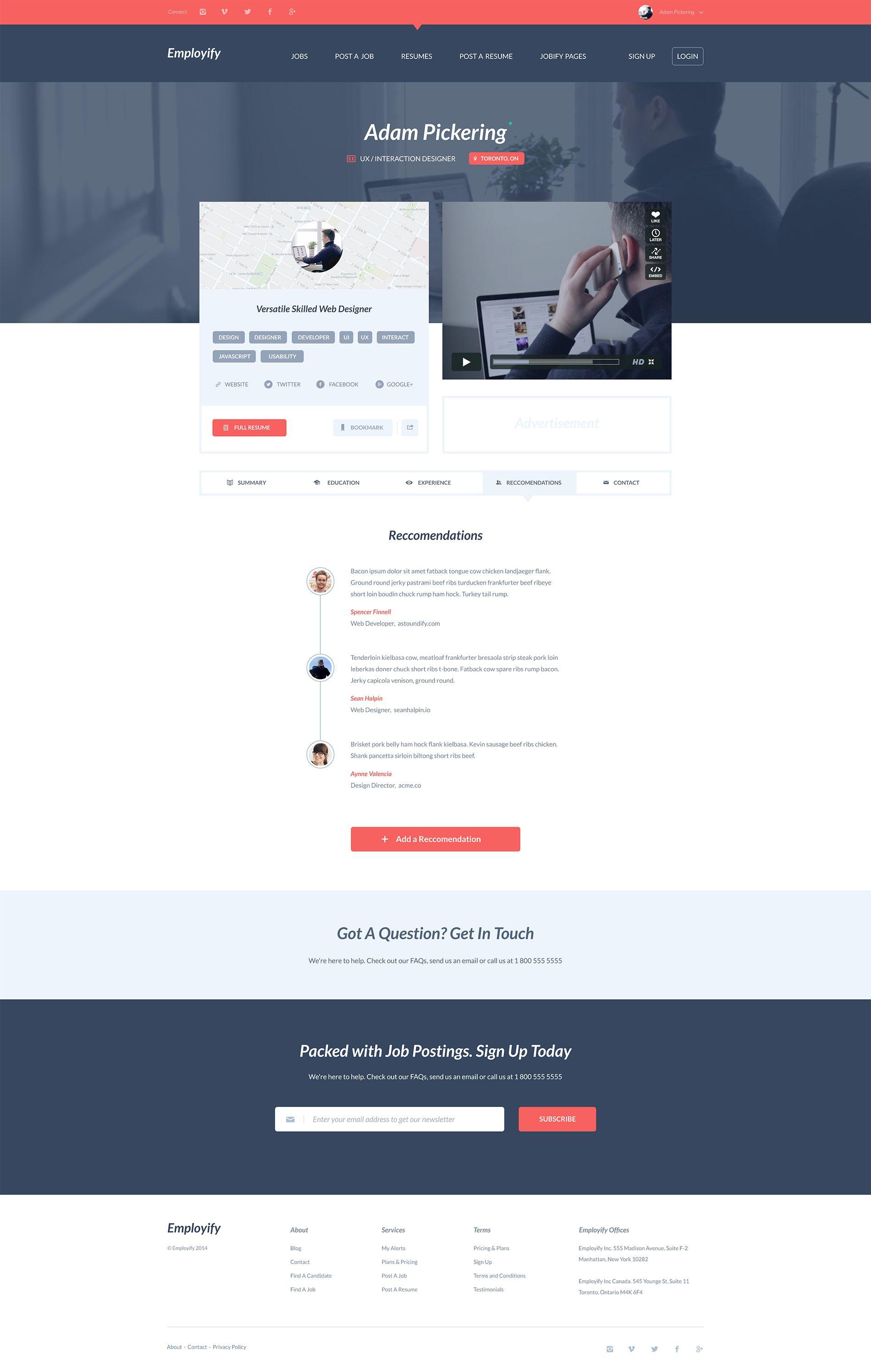 employify resume ui ux web design inspiration and design