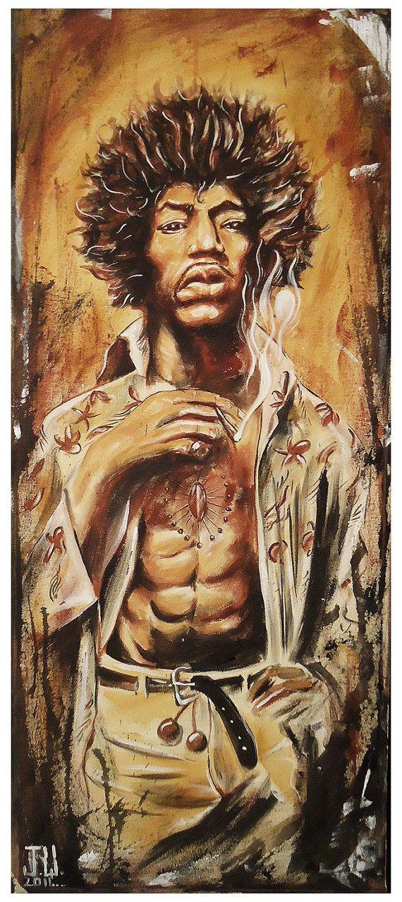 JEREMY WORST Jimi Hendrix 2011 Canvas print by JeremyWorst on Etsy