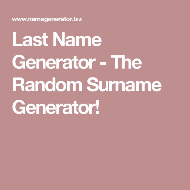 last name generator the random surname generator job book
