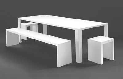Table Rectangulaire Big Irony Outdoor Zeus Blanc Made In