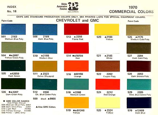 1970 color code - the 1947 - present chevrolet & gmc truck message