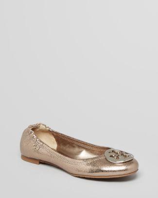 Tory Burch Logo Ballet Flats - Reva Metallic  Bloomingdale's