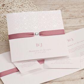 Faire-part mariage ruban rose et arabesques