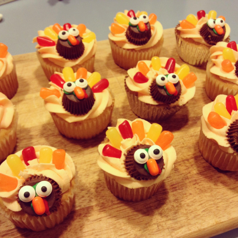 Turkey cupcakes Mike & Ike's, Reese's mini PB cups & Orange T...
