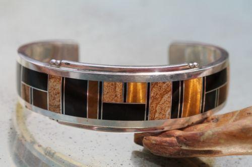 Vintage Signed Navajo Sterling Silver Channel Set Tiger's Eye Jasper Bracelet