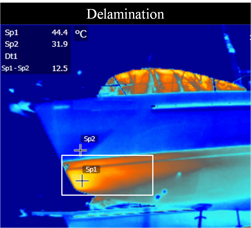 Boat thermography, preventive maintenance, delamination