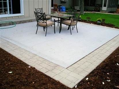 Pavers Around Concrete Concrete Patio Patio Stones Patio Extension Ideas