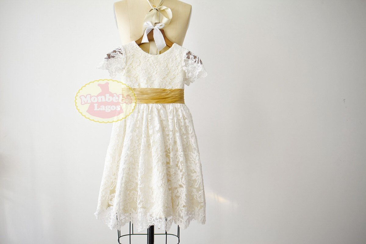 Short sleeves ivory lace champagne taffeta lining flower girl dress