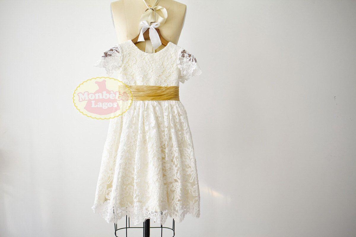 Short sleeves ivory lace champagne taffeta lining flower girl dress