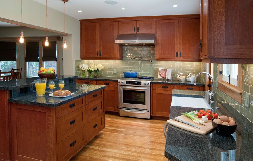 Quarter Sawn Oak Cabinets Kitchen | Shaker Cabinet Doors With A Modified 3