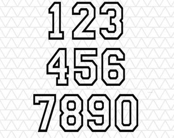 Varsity Block Numbers SVG & DXF Files | Stencils & SVGs | High