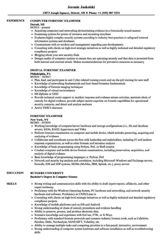 Forensic Examiner Resume Samples in 2020 Report template