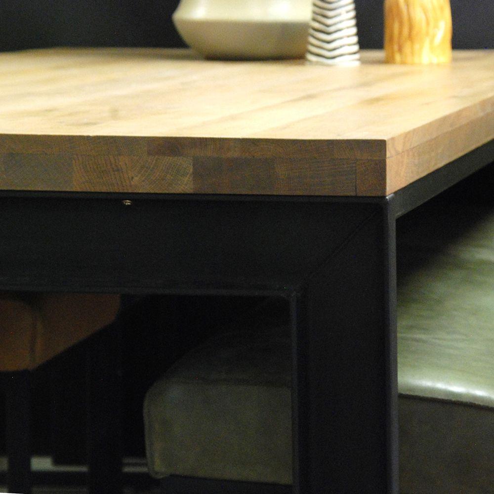 Tafelblad Met 4 Poten.Robuuste Eettafel Soprano Hout Tafelblad Metalen Onderstel