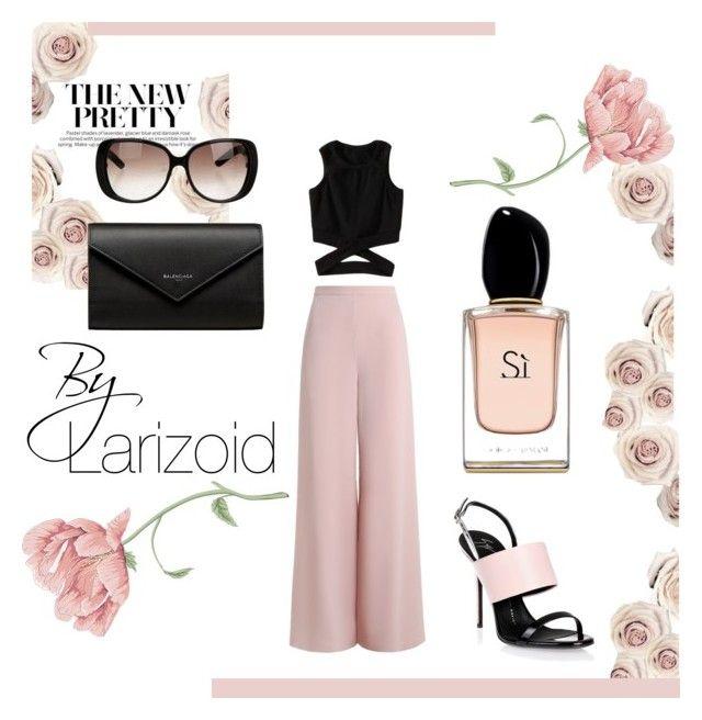 """Rosé Classic"" by larizoid ❤ liked on Polyvore featuring Zimmermann, Giuseppe Zanotti, Gucci, Balenciaga and Armani Beauty"